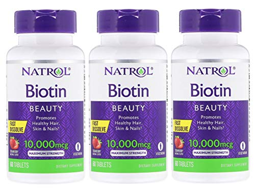 Natrol Biotin Fast Dissolve Tablets, Strawberry Flavor, 10,000mcg, 60 Count (3 Pack)