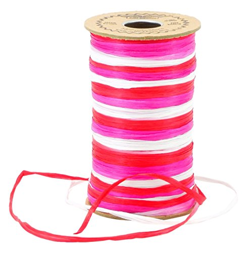 Raffia 3-Color Red, White & Fuchsia Combination Matte Finish (Raffia Trim)