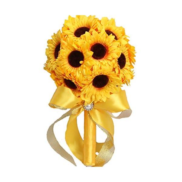 "Zebratown 7.9"" Artificial Silk Sunflower Bouquet Flowers For Home Decoration Wedding Decor Bride Holding Flowers Floral Decors (Sunflower)"