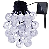 GDEALER Solar String Lights 20ft 30 LED White Crystal Ball Waterproof Outdoor String Lights Solar Powered Globe Fairy String Lights for Garden - Home - Landscape - Christmas Decoration (1)
