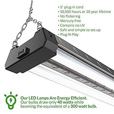 Sunco Lighting 6 PACK - ENERGY STAR - 4ft 40W LED Industrial Utility Shop Light, 4000lm 300W Equivalent, Double Integrated LED Fixture, Aluminum Design, Ceiling Light, Garage, Frosted (5000K-Daylight)