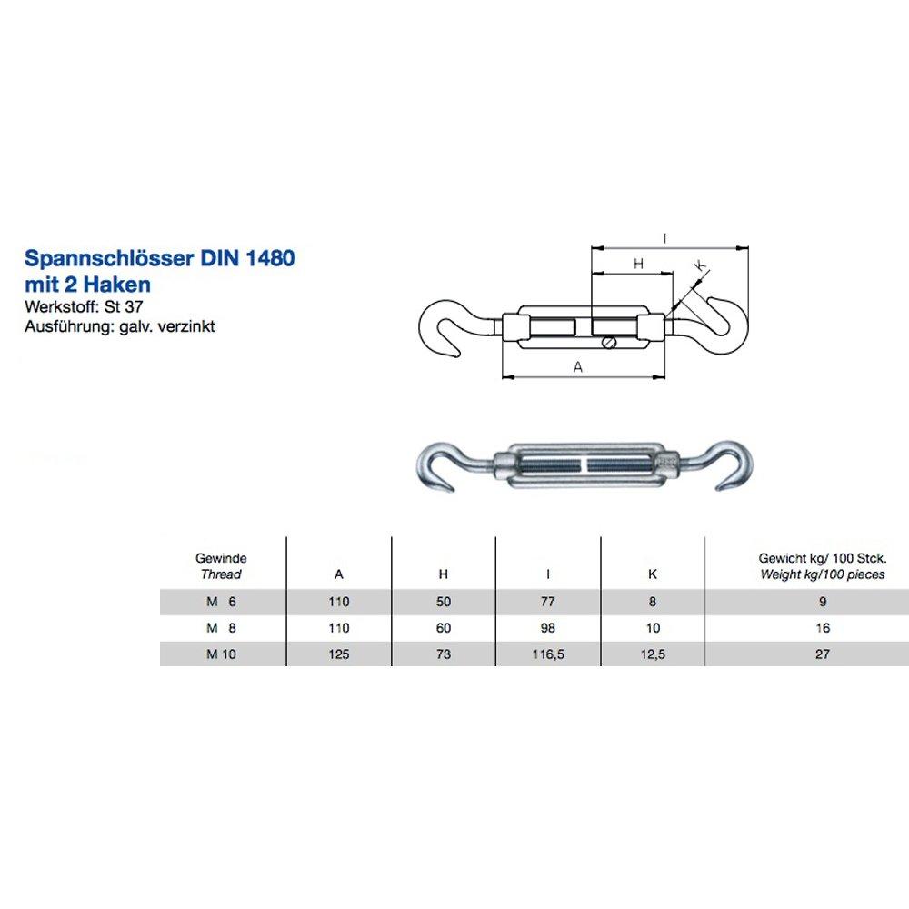 5x Spannschloss M8 DIN 1480 mit 2 Haken Stahl verzinkt Spannhaken Haken-Schrauben Drahtspanner