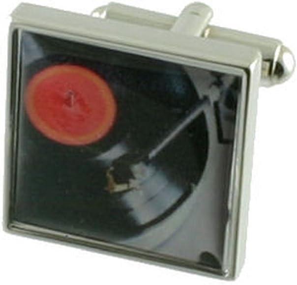 Tocadiscos DJ música funda pesada sólida plata de ley 925 gemelos ...