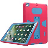"New iPad 9.7 inch Case, Eontry Shockproof Heavy Duty Full Body Cover Rubber Plastic Protective Case with Build-in Kick Stand For Apple New iPad 9.7"" 2017 5th Gen/2018 6th Gen (Rose + Blue)"