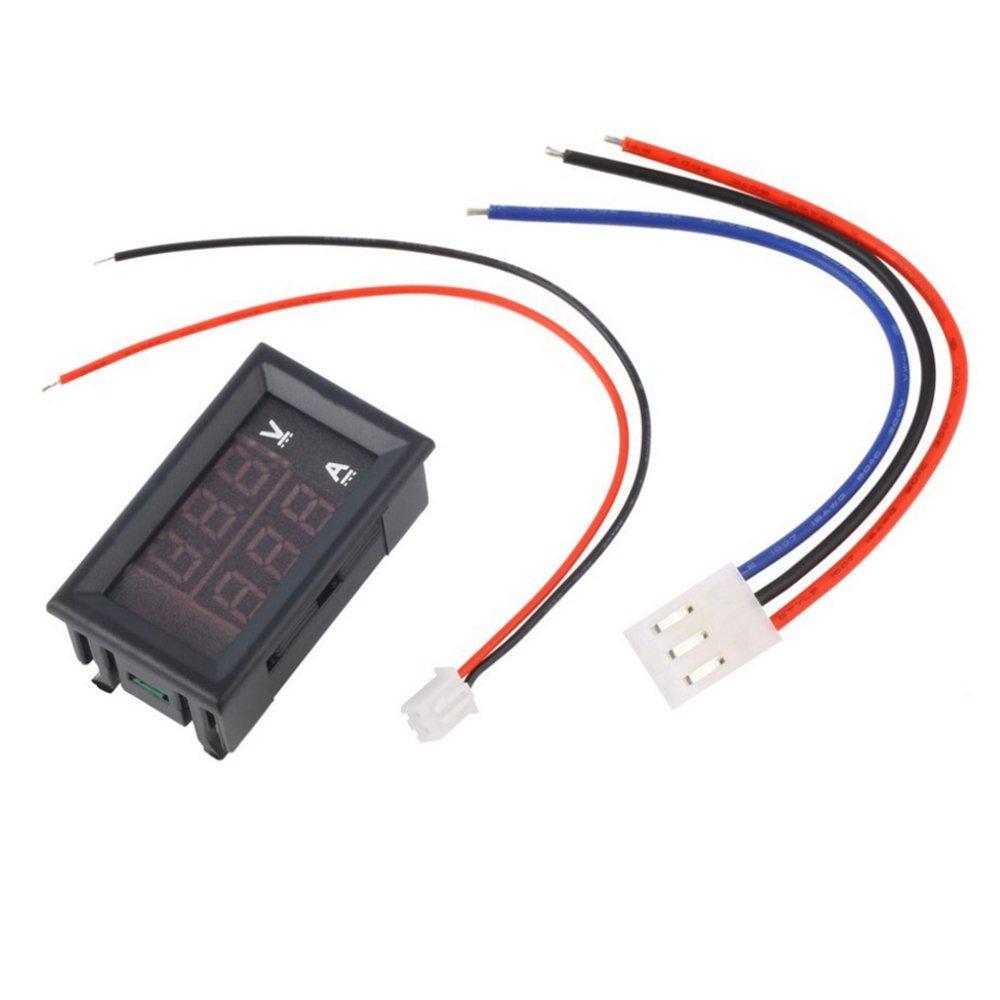 Walmeck Digital Voltmeter Ammeter LED DC0~100V 10A Red//Blue Dual Color Display Voltage and Ampere Meter Volt Amp Gauge Panel