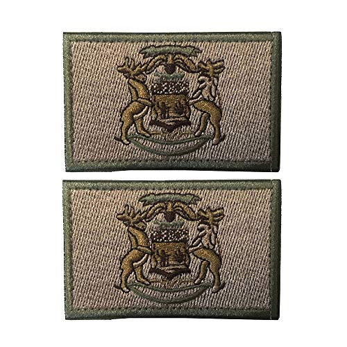 ichigan State Flag Patch - 2 Pack Tactical Patches Embroidery Morale Emblem (Mud) ()