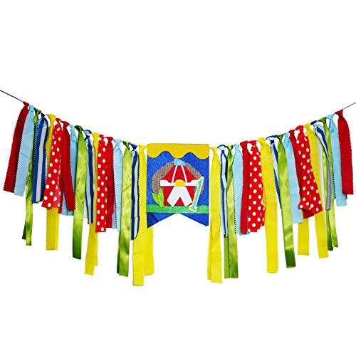 Circus Carnival High-Chair Ribbons Banners Party Supplies Baby Shower 1st First Birthday Under the Top Party Banners Garlands Decor Photo Booth Backdrop Props Hanging Decorations -
