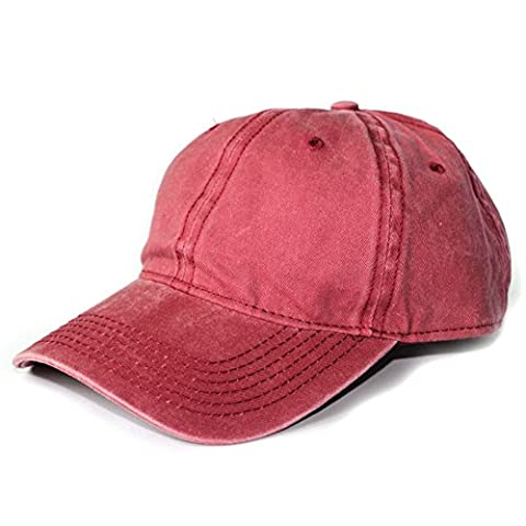 Opromo Classic Washed Dyed Cotton Cap Adjustable Dad Hat Unisex Baseball Cap-Maroon - Cotton Tennis Hat