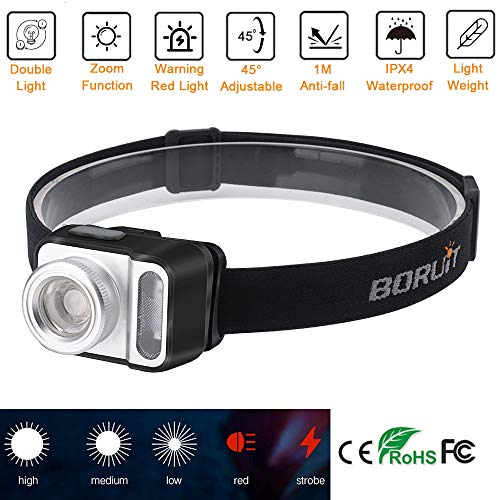 Boruit Best Zoomable Headlamp, 5 Modes 200 Lumen White & Red LED Light Waterproof Camera Headlight, Adjustable Sweat Absorbing Strap Lightweight Head Lamp for Running, Camping, Fishing, Hunting