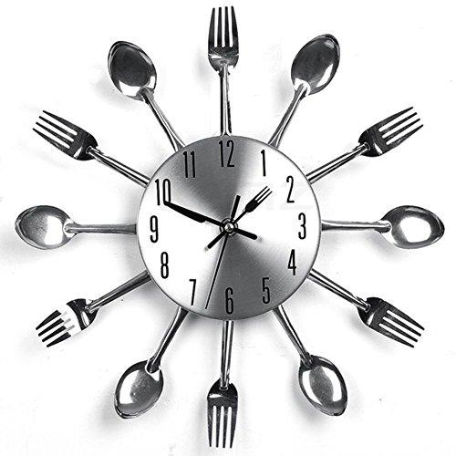 (XEMZ Creative Fork Knife Wall Clock, Cutlery Kitchen Novelty Hang Clock, Decorative Stainless Steel Spoon Utensil Analog Clock, Modern Decal Wall Sticker, Frameless DIY Mirror Effect Clock (silver))