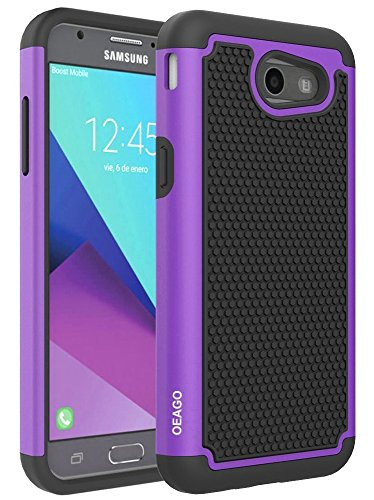 For Samsung Galaxy J3 Emerge / J3 Prime / J3 Mission / J3 Eclipse / J3 2017 / J3 Luna Pro / Sol 2 / Amp Prime 2 / Express Prime 2 Case, OEAGO Hybrid Dual Layer Defender Protective Case Cover (Purple)