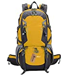 FORTRIC 40L Outdoor Sports Shoulder Bag Durable Hiking Travel Backapack Water Resistang Daypack for Camping Mountaining with Rain Cover Yellow