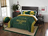 3pc NCAA North Dakota Fighting Hawks Comforter Full/Queen Set, Yellow, Unisex, Fan Merchandise, Team Spirit, Sports Patterned Bedding, Green, College Basket Ball Themed, Team Logo