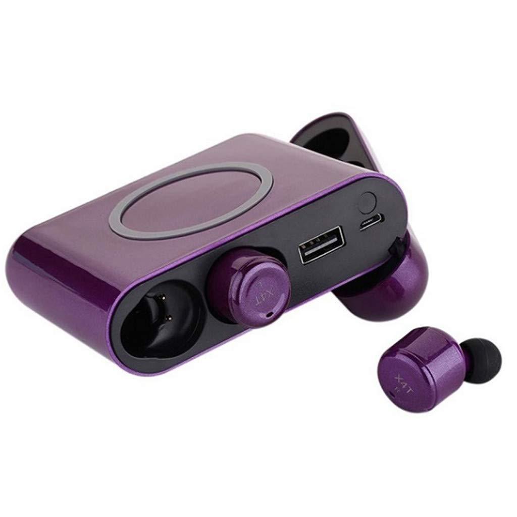 HCDjgh Bluetooth Earphones with Microphone Wireless, Mini Twins Wireless Sports in-Ear Stereo Noise Cancelling♫ On-Ear Headphones ♫(Purple)