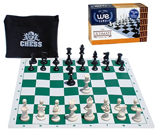WE Games Compact Tournament Chess Set with Green Silicone Chess Board & Plastic Tournament Pieces with 3 3/4 in. King, 20 Inch Board