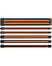 Thermaltake TtMod Sleeve Extension Power Supply Cable Kit ATX/EPS/8-pin PCI-E/6-pin PCI-E with Combs, Orange/Black AC-036-CN1NAN-A1