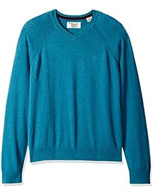 Men's Lightweight Cotton V-Neck Sweater