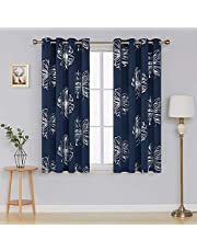 Deconovo Foil Print Floral Panels Thermal Insulated Blackout Curtain Window Blackout Drapes for Living Room One Pair