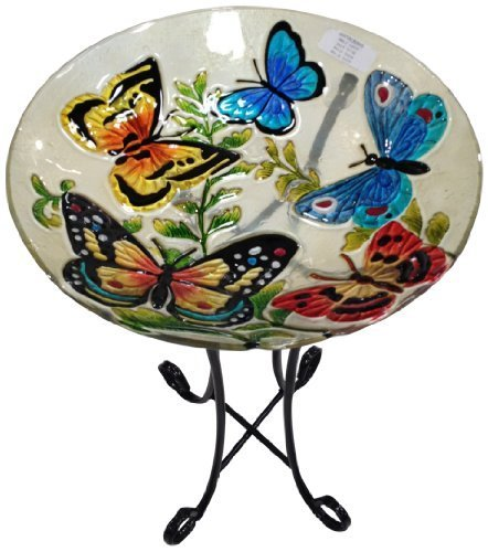 Continental Art Center CAC2609451 Hanging Butterfly Glass Bird Feeder with Iron Chain, 11-Inch by Continental Art Center by Continental Art Center