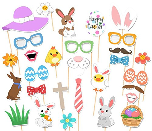 [Easter Photo Props, 29PCS Birthday Photo Booth Props for Easter Party by SHOWEET (29, Easter Day)] (Make Your Own Superhero Costume)