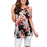 Luranee Business Casual Blouses for Women, Mexican Shirts for Women Short Sleeve Tunics Floral Outfits Vivid Gegorous Looking Trendy Party Wear Clothing Black L