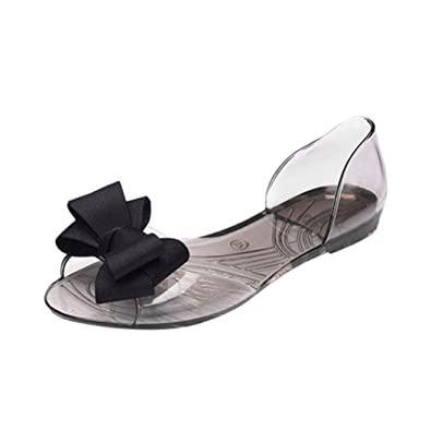 9ea770b58bccb8 Halijack Women Sandals Summer Flowers Bow Transparent Peep-Toe Sandals  Indoor Leisure Anti Skidding Wedges