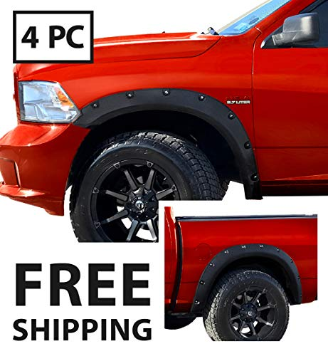 MaxMate Premium Fender Flares for 2009-2018 Dodge Ram 1500; 2019 Ram 1500 Classic (Fleetside Models ONLY) | Excl. R/T and Rebel Models | Rough-Textured Black Pocket Bolt-Riveted Style 4pc ()