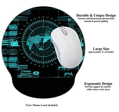 Meffort Inc Mouse Pad with Wrist Rest Support & Non-Slip Base, Durable Ergonomic Gaming Mousepad - Radar Design