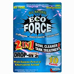 Motorhome Eco Force Toilet Bowl Drop Ins 2 in 1 Tank Treatment and RV Bathroom Bowl Cleaner Odor Stopping Trailer Treatment (100% Biodegradable)