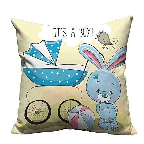 Toile Green Baby Accessories - YouXianHome Decorative Couch Pillow Cases Cute Bunny Baby Carriage and Its Boy Kids Avocado Green Blue Easy to Wash(Double-Sided Printing) 11x19.5 inch