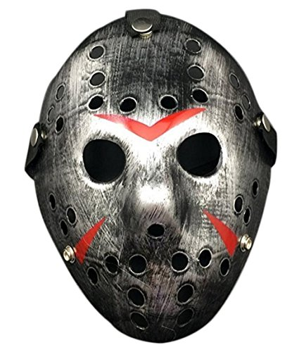 Friday The 13th Jason Hockey Mask (WELLIN Halloween Friday The 13th Horror Hockey Jason Cosplay Mask (Silver))