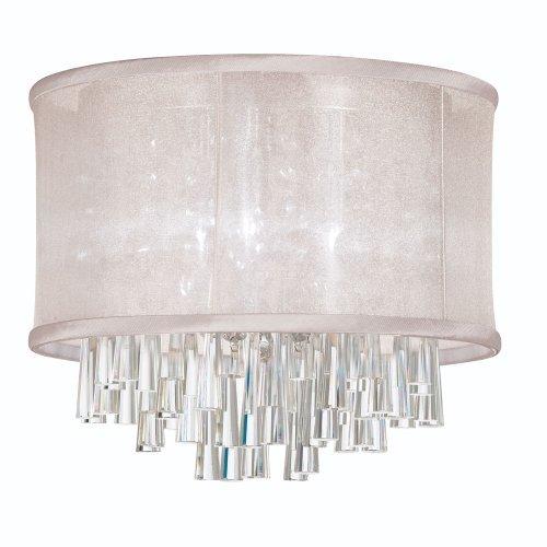 Oyster Organza Shade - Dainolite Lighting JOS144FH-PC-117 4-Light Crystal Flush Mount Fixture with Oyster Organza Drum Shade by Dainolite Lighting