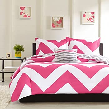 Modern Black Pink White Chevron Comforter Bedding Set With Shams And A  Scented Candle Tarts (