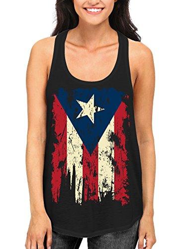SpiritForged Apparel Vintage Distressed Puerto Rico Flag Women's Racerback Tank Top, Black Medium by SpiritForged Apparel