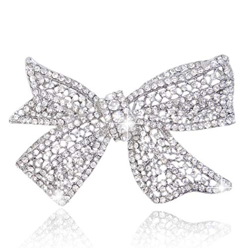 (EVER FAITH Delicate Wedding Silver-Tone Bow Austrian Crystal Clear Brooch)