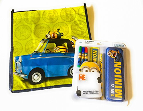 [Minion Mania Recyclable Tote Bundle Exclusive [Minions Ride (Despicable Me) Bag, 2 Coloring Books, Stationary Set Case] birthday activity party gift game school art crafts goodie graduation] (Despicable Me Minion Hats)