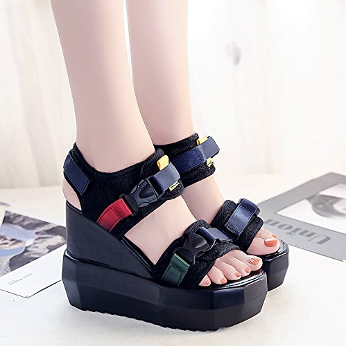 RUGAI-UE Sandalias de tacón alto verano estudiantil Waterpronon deslizamiento cuesta abajo gruesos zapatos de mujer Black