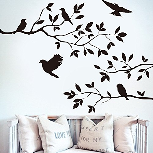 Tree & Bird Wall Stickers, E-Scenery Kitchen Peel and Stick DIY 3D Wall Decals Mural Art Wallpaper for Kids Room Home Nursery Party Window Decor, Black