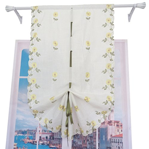 ZHH Pastoral Style Roman Shade Handmade Daisy Embroidery Curtain High 57 Inch by Width 25 Inch, Yellow Flowers on White
