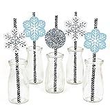 Winter Wonderland Paper Straw Decor - Winter Wedding Striped Decorative Straws - Set of 24