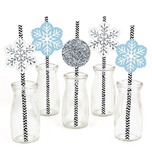 Big Dot of Happiness Winter Wonderland Paper Straw Decor - Snowflake Holiday Party & Winter Wedding Striped Decorative Straws - Set of (Winter Wonderland Prom Decorations)