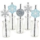 Big Dot of Happiness Winter Wonderland Paper Straw Decor - Snowflake Holiday Party & Winter Wedding Striped Decorative Straws - Set of 24