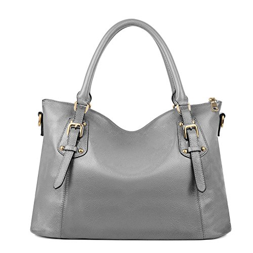 Kattee Women's Vintage Genuine Leather Tote Shoulder Bag (Large, Grey) ()