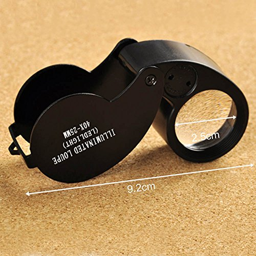 Zytree(TM)Lupa Com 40X 25mm Glass Magnifier Folding Jewelry Compact Pocket Loupe Led Light Lupa De Dumento Lamp Magnifying Glasses