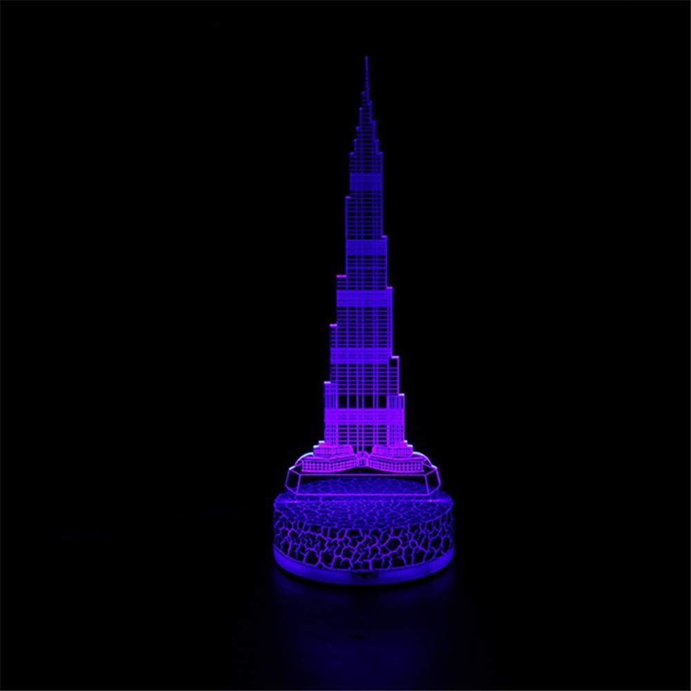 Lozhz 3D Touch-Usb Bunte Karikatur-Nacht Beleuchtet Die Geburtstags-Weihnachtsgeschenke Der Acryl-Kinder Tischleuchte Umgebungslicht Burst Crack Höher Turm
