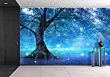 wall26 - Fairy Tree In Mystic Forest - Removable Wall Mural | Self-adhesive Large Wallpaper - 66x96 inches
