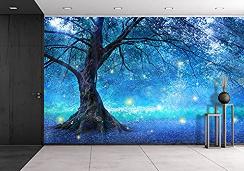 wall26 - Fairy Tree In Mystic Forest - Removable Wall Mural | Self-adhesive Large Wallpaper - 66x96 (Fantasy Mural)
