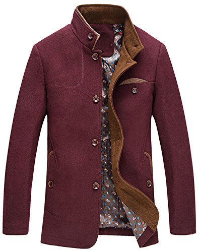 - chouyatou Men's Gentle Band Collar Single Breasted Wool Blend Pea Coat (WineRed, X-Large)