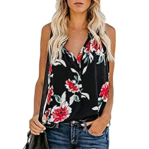 BLENCOT Women's Floral Print V Neck Tank Tops Loose Casual Sleeveless Shirts Blouses