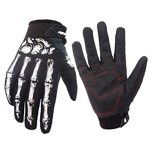 MMRM2 Full Finger Gloves Waterproof Riding Bike Non-Slip Skeleton Costume Gloves Men Women for Sporting Hunting Training (Black,L)]()
